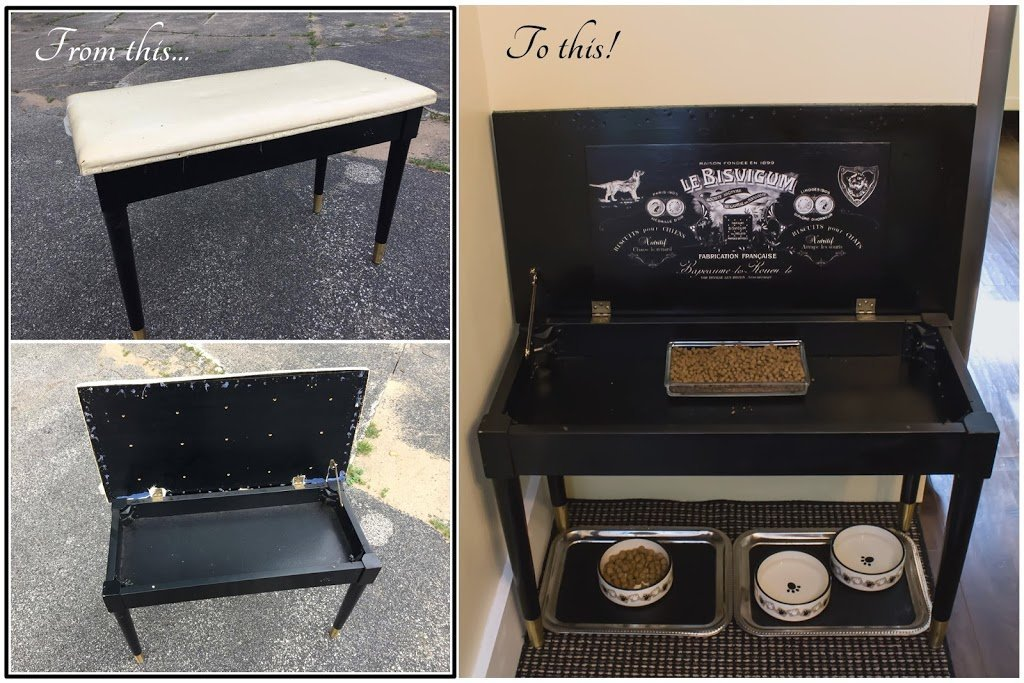 Read more about the article Repurposed piano bench is now a pet feeding station